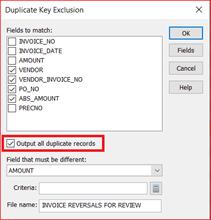 Duplicate Key Exclusion Dialog