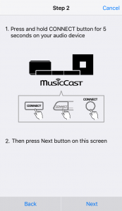 MusicCast App Setup Page 2