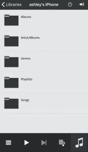 Showing the local iPhone music library
