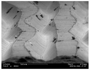 Record grooves under a microscope