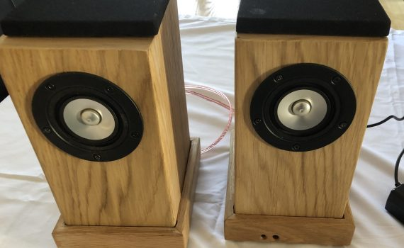 Front View Of Speakers And Plinths , No Grills