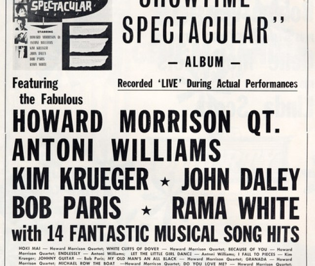 Ad For Harry M Millers 1964 Showtime Spectacular Live Album On The La Gloria Label Featuring Howard Morrison Toni Williams Bob Paris And More