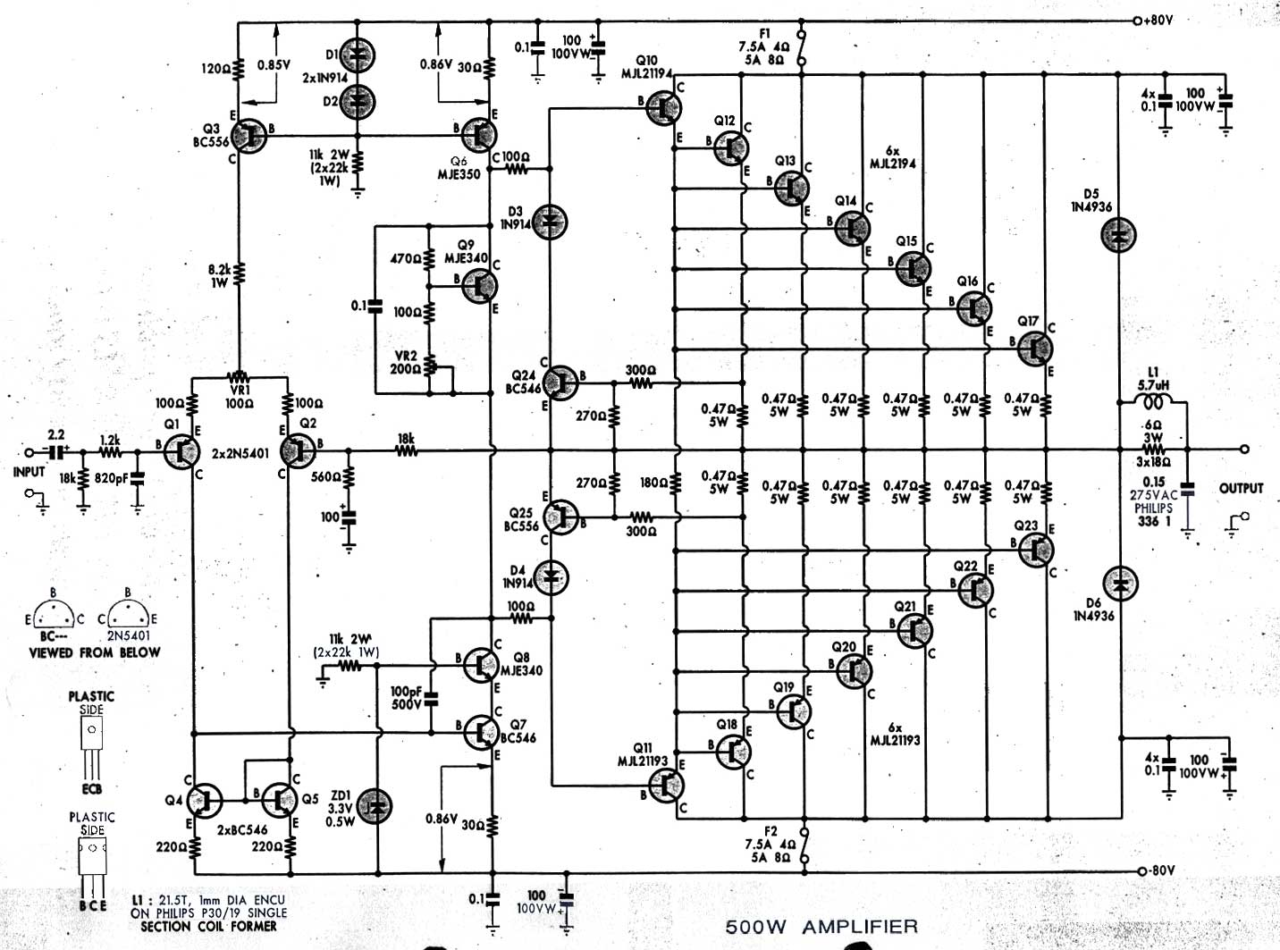 Watts Amplifier Circuit Diagrams Power Amplifier
