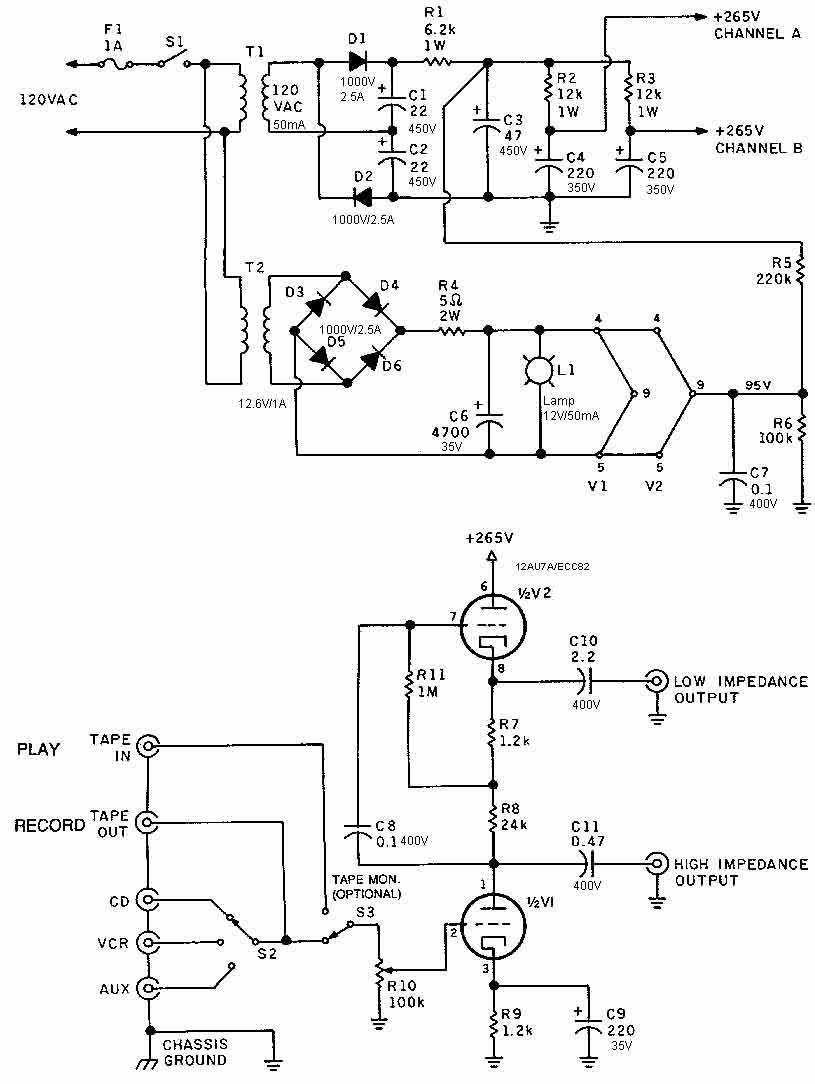 Schema Pre Valvolare con ECC82