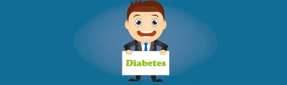 a drawing of a business man holding a sign that says diabetes