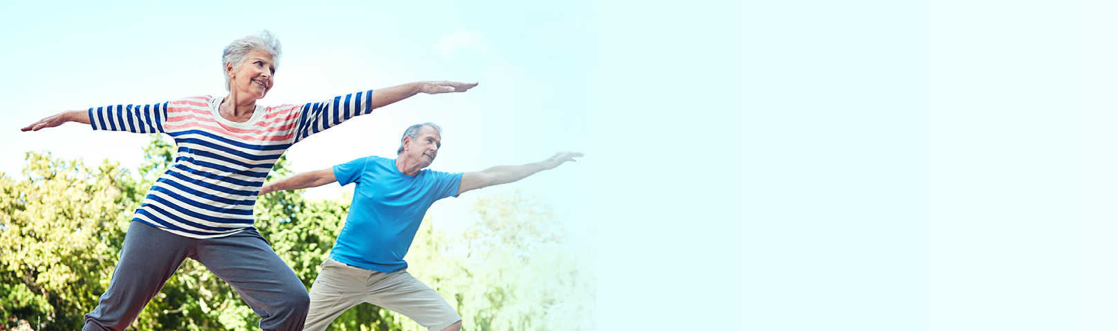a couple enjoys exercising together despite balance problems knowing their family understands