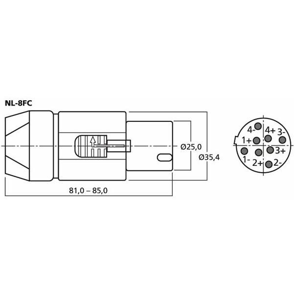 Neutrik NL-8FC 8 Pole Speakon Plug