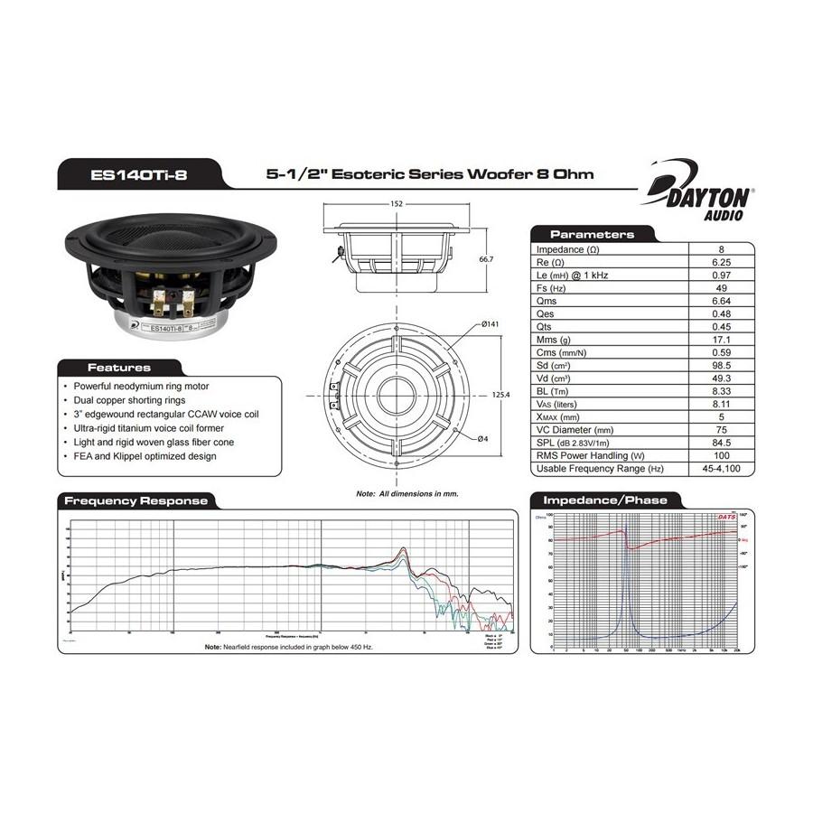 hight resolution of  dayton audio es140ti 8 esoteric series subwoofer 8 ohm 5 1 2