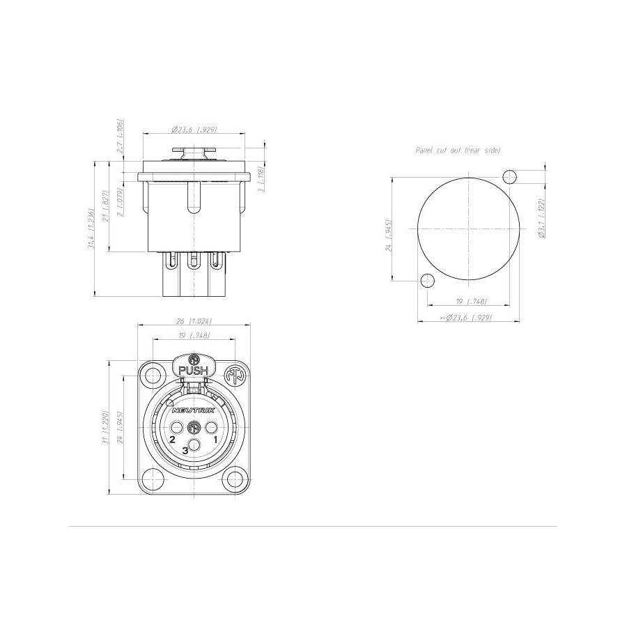NEUTRIK NC3FDS1 Female XLR 3 Pins socket / inlet Gold