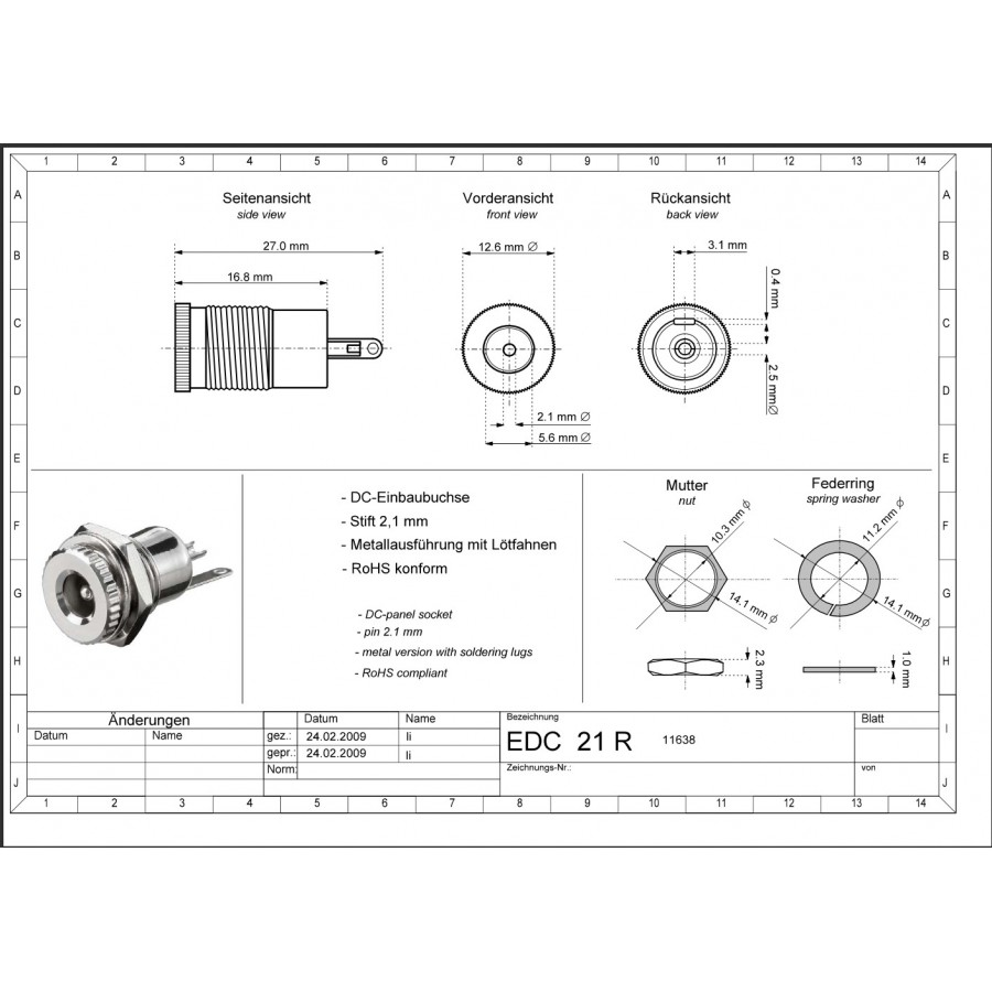 hight resolution of  barrel connector panel jack dc 2 1mm central installation