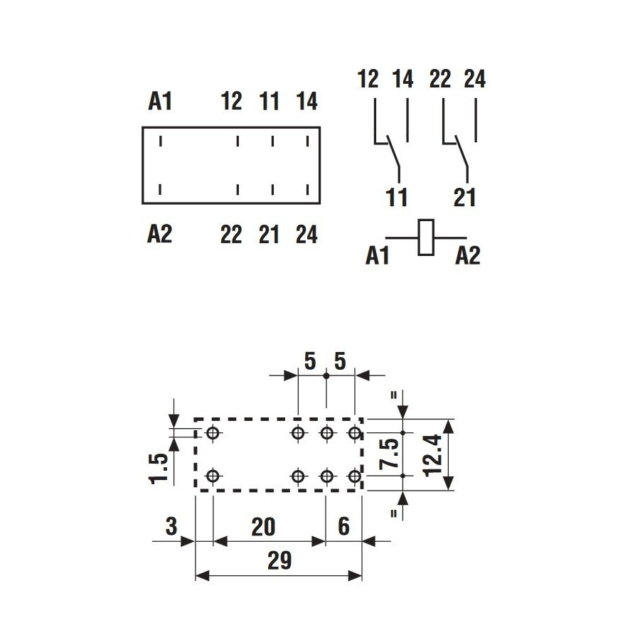 FINDER 40.52 Relais pour PCB deux pôles 12 VDC 8A
