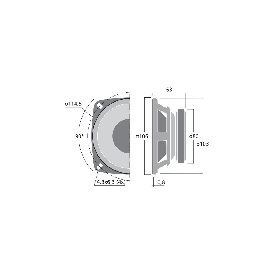 medium resolution of  monacor sp 100 8 bass speaker hi fi 10cm