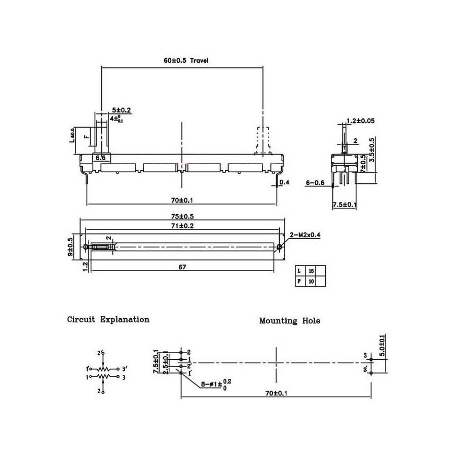medium resolution of stereo linear slide potentiometer 60mm 10kohm audiophonics linear potentiometer wiring slide potentiometer linear