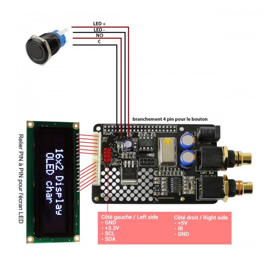 hight resolution of  audiophonics i sabre dac es9023 v3 tcxo raspberry pi 2 0 a b i2s