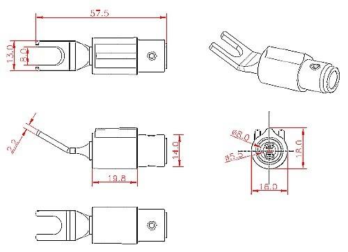 FURUTECH FT-211 (G) Spade Plug Gold Plated 24k Ø 4.5mm