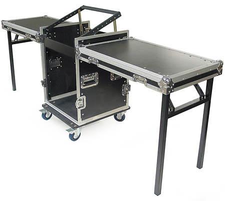 cudj p heavy duty rack case with slant top mixer rails and tabletop doors 12u 14u 16u
