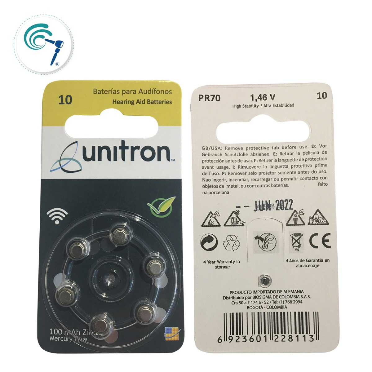 Pilas para audífonos Unitron