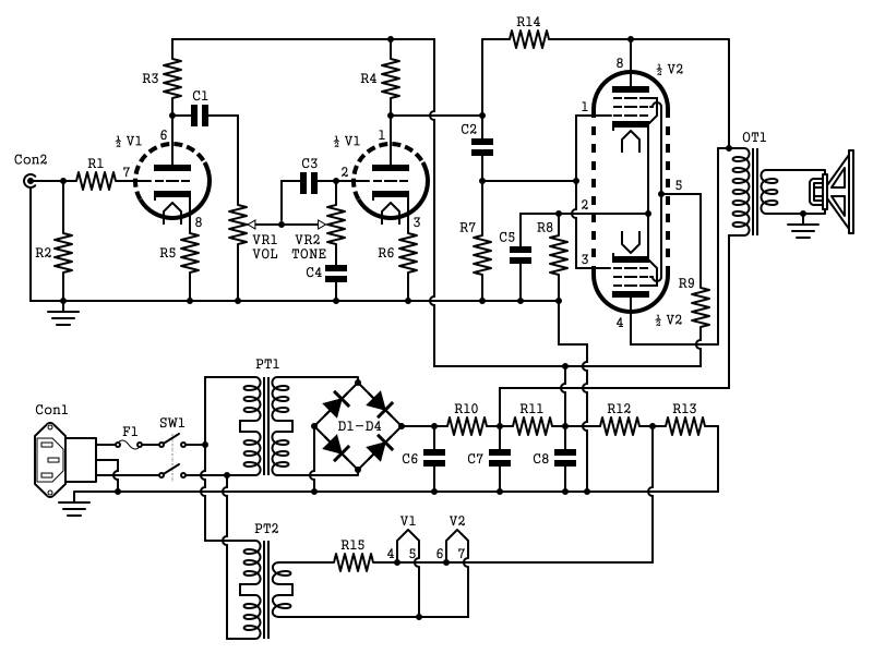 2W Tube Guitar Amp Schematic
