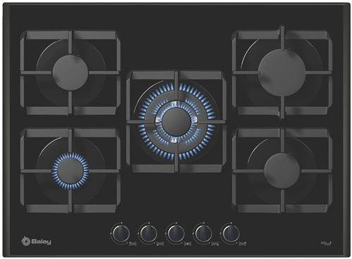 Placa de cocina Balay Gas  Cristal templado negro  70cm  5 fuegos  Zona gigante  Autoencendido  Gas stop  Parrillas profesionales