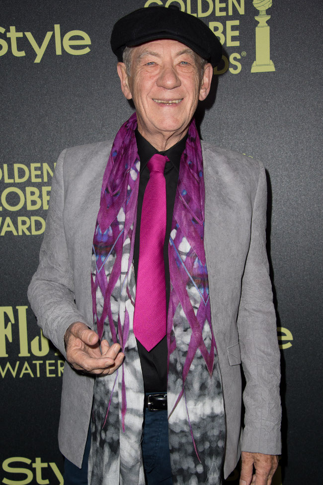 Sir Ian McKellen attends a party for the announcement of Corinne Foxx as Miss Golden Globe 2016 for the 73rd Annual Golden Globe Awards set to air live on NBC on January 10, 2016. President Lorenzo Soria made the announcement on November 17, 2015 from Ysabel Restaurant in West Hollywood.