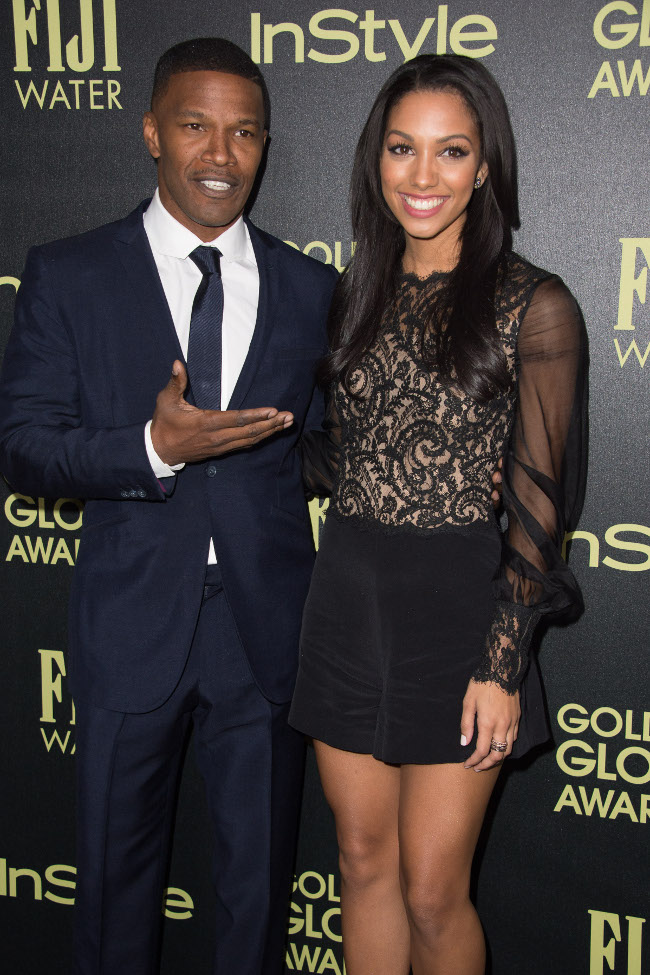 Jamie Foxx and Corinne Foxx, Miss Golden Globe 2016 attend  a party for the announcement of Corinne Foxx as Miss Golden Globe 2016 for the 73rd Annual Golden Globe Awards set to air live on NBC on January 10, 2016. President Lorenzo Soria made the announcement on November 17, 2015 from Ysabel Restaurant in West Hollywood.
