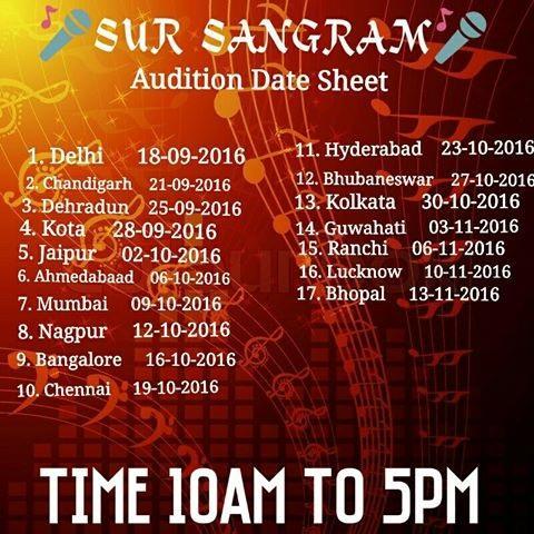 Sur Sangram season 4 2016 Auditions Details