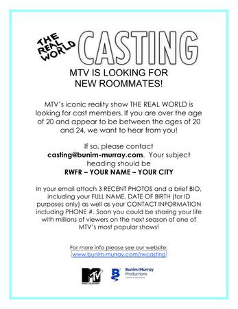 MTV Real World is now casting and the show will be holding