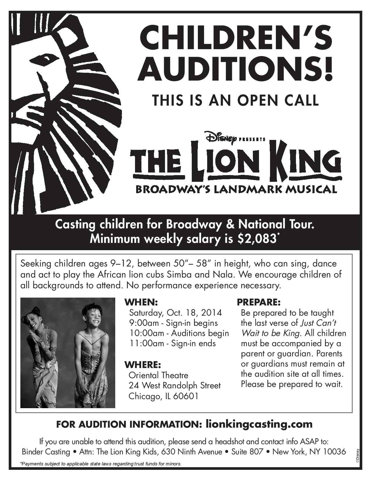 Open Auditions For Kids Disney The Lion King