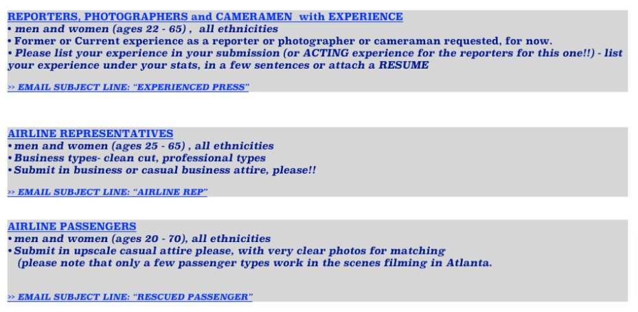 Available roles in Eastwood's Sully movie - casting information