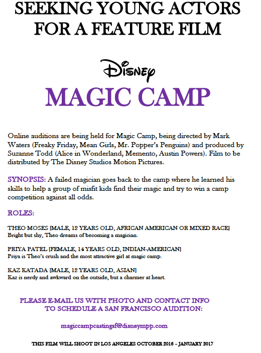 Disney Auditions for Kids Disney Movie quotMagic Campquot Major