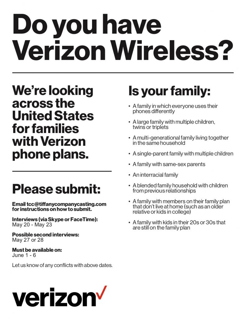 Casting Families Nationwide Using Verizon Wireless