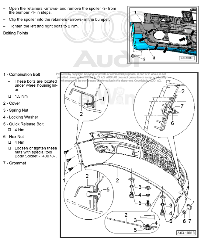 Service manual [How To Remove Front Bumper 2009 Audi Tt