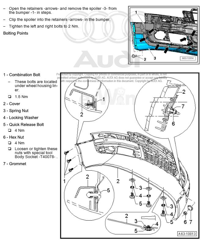 Service manual [How To Remove Front Bumper 2009 Audi Tt