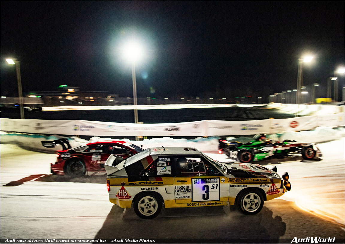 Audi race drivers thrill crowd on snow and ice