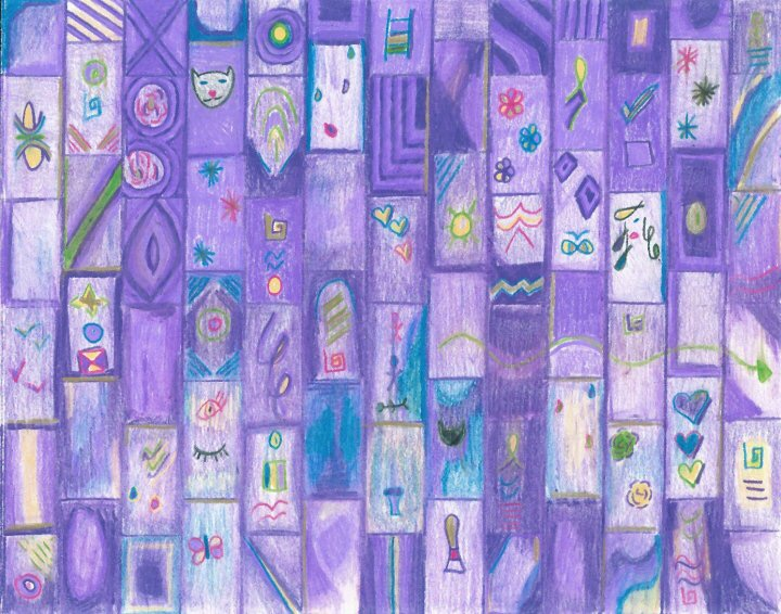 Soft Purple Bricks, colored pencil drawing by Audra Arr
