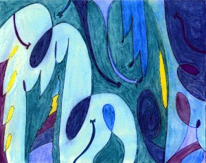 abstract art, audra arr, pastels, blue