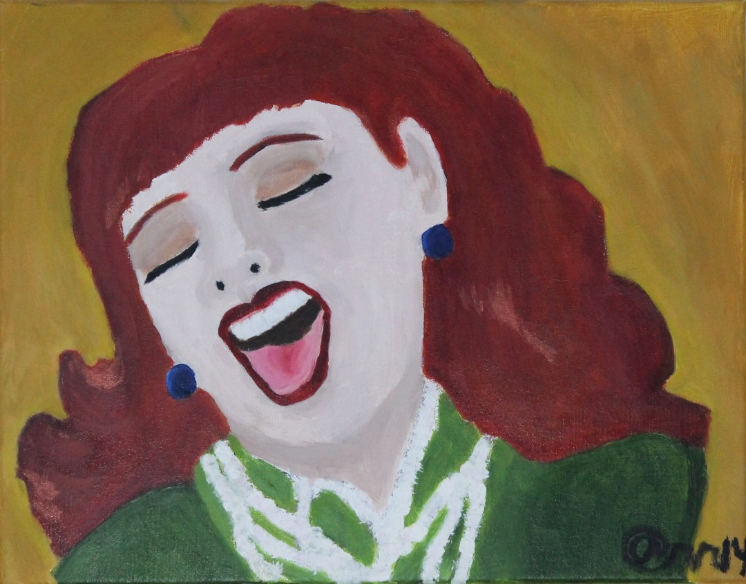She Laughed, Acrylic Portrait Painting by Audra Arr