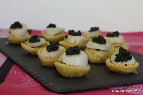 Tartelettes aux st jacques mousseline de sole caviar d - Une mousseline en cuisine ...