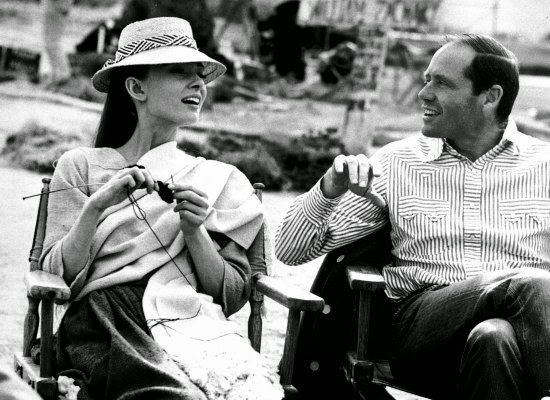 Audrey Hepburn with husband Mel Ferrer knitting