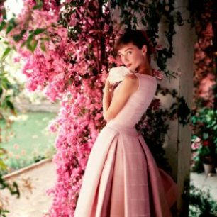 Audrey Hepburn pink swing dress flowers