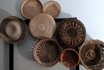 Wicker basket wall vignette