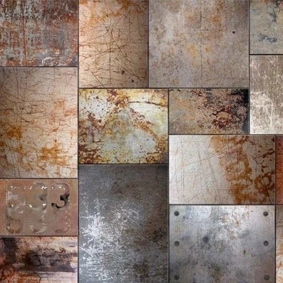Papier peint style industriel carrs en acier 270x270 cm  Rebel Walls  Au fil des Couleurs