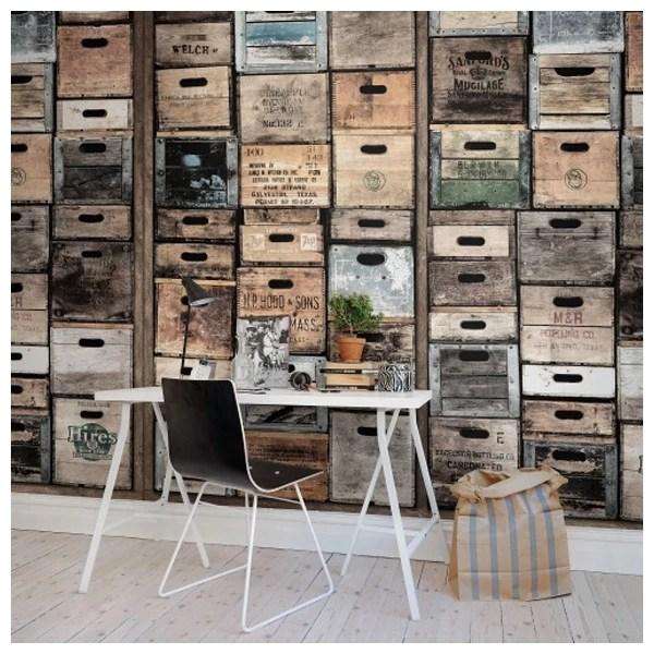 Papier peint style industriel vielles caisses en bois Rebel Walls  Au fil des Couleurs