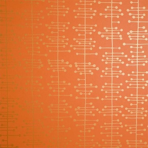Papier peint gomtrique orange et dor  MissPrint  Au fil des Couleurs