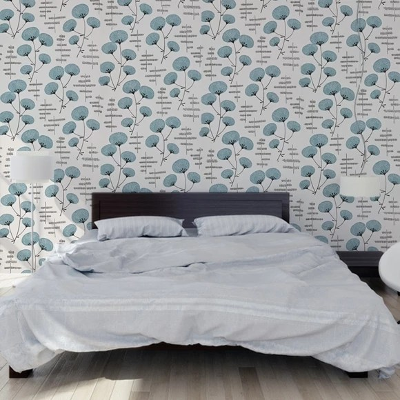 Papier peint blanc et bleu cotonniers style japonisant  MissPrint  Au fil des Couleurs