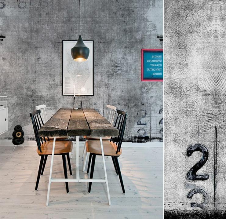 Papiers peints pour une salle  manger industrielle  Blog Au fil des Couleurs  Papiers peints