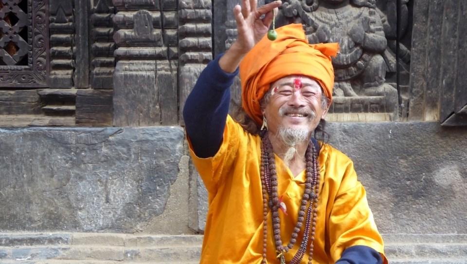 ein Sadhu in Bhaktapur in Nepal