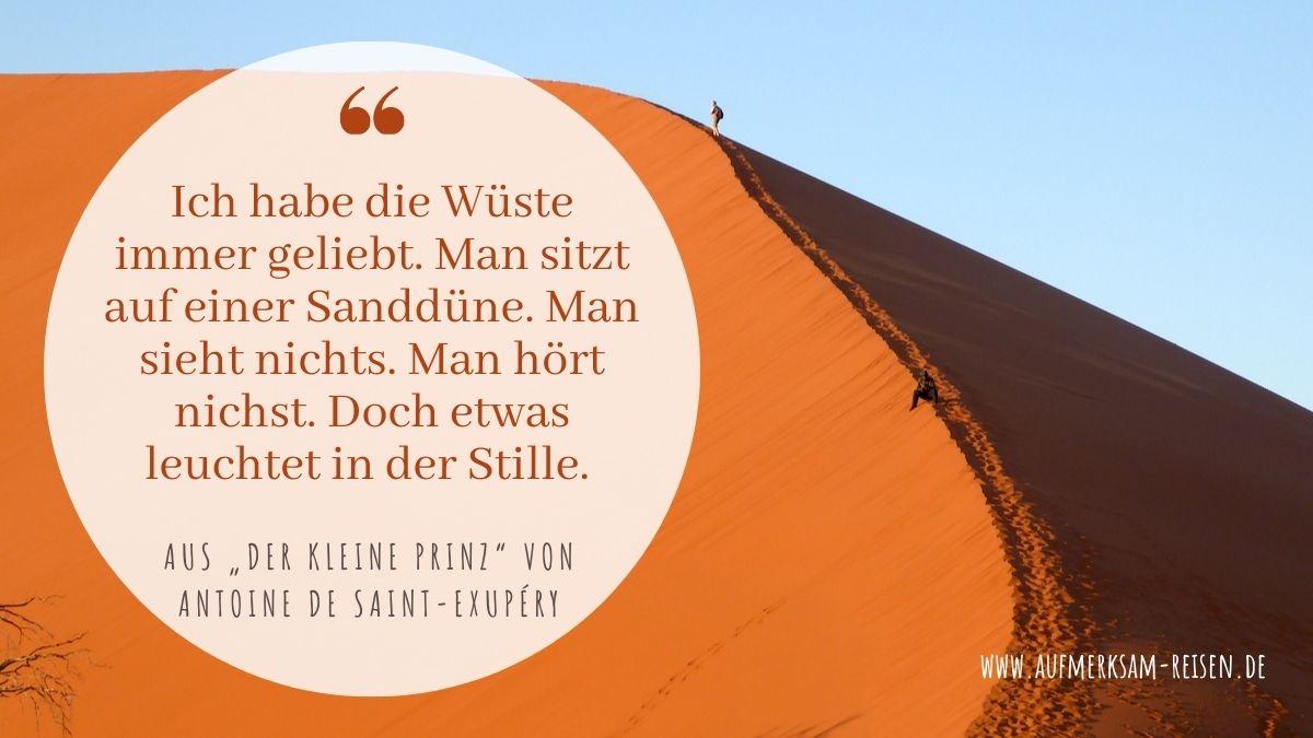 Zitat über die Wüste aus dem Buch Der kleine Prinz von Antoine de Saint-Exupéry