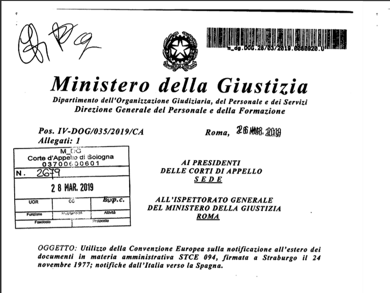 Notificazione all'estero dei documenti in materia amministrativa STCE 094