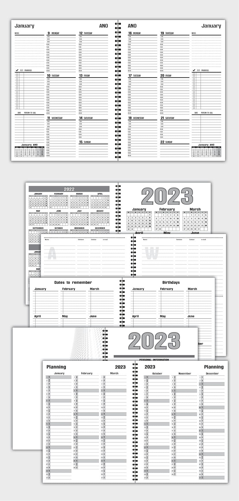 2022 DAILY PLANNER AGENDA TEMPLATE MODEL ATD38